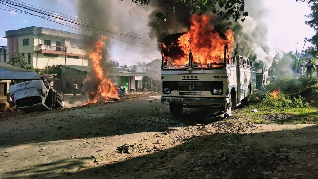 buses burnt by protestors
