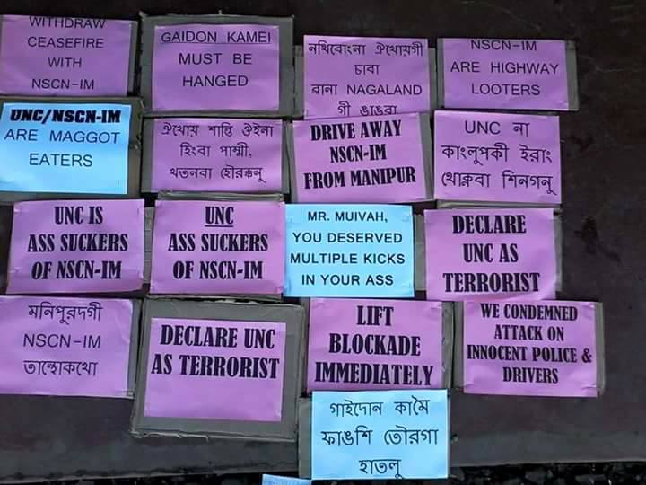 placards against UNC Manipur