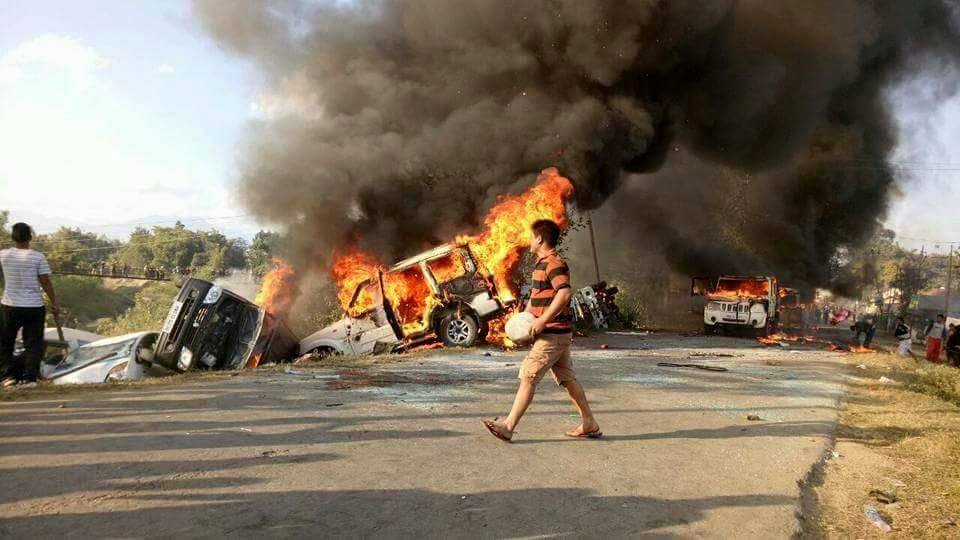 Buses Vehicles burnt Manipur